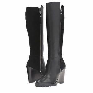 Michael Kors Clara Wedge Leather Knee High BOOTS